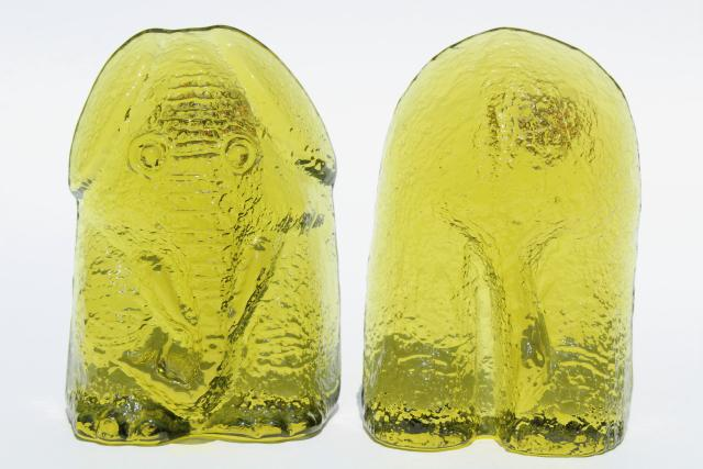 vintage Blenko glass book ends, elephant front & back, chartreuse yellow lime green glass