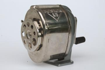 vintage Boston KS eight hole all metal hand crank desktop pencil sharpener