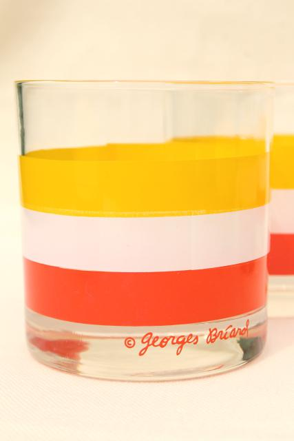 vintage Briard Cabana orange yellow white striped lowball on the rocks bar glasses