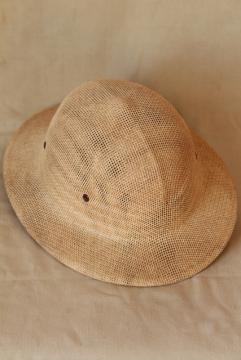 vintage Brookstone sun helmet, safari expedition hard hat woven straw pith helmet