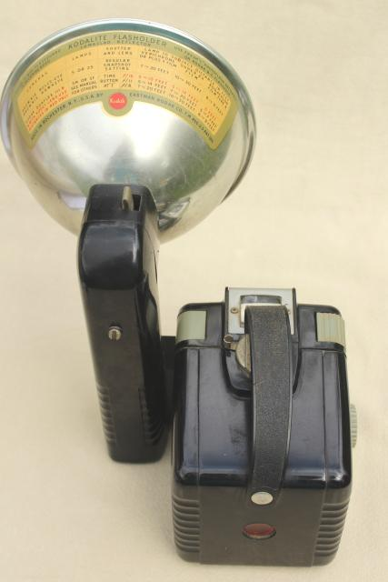 vintage Brownie Hawkeye Kodak camera, old bakelite camera w/ light flash attachment