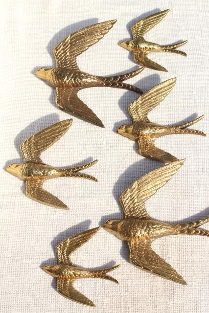 vintage Burwood gold birds, flock of flying swallows, 80s retro wall art plaques