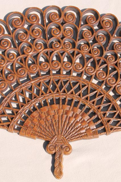 vintage Burwood plastic bentwood fan wall plaque, 70s retro hippie bohemian decor