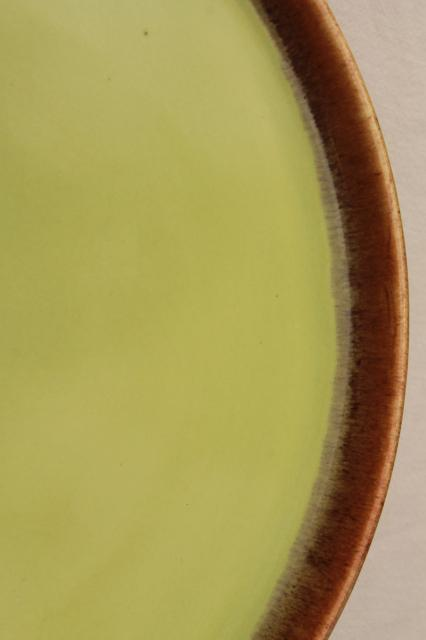 vintage California Rustic drip glaze pottery round tray or large plate Desert Mist chartreuse