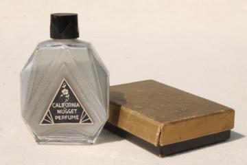 vintage California nugget perfume bottle, silver shimmer glitter powder w/ violet scent