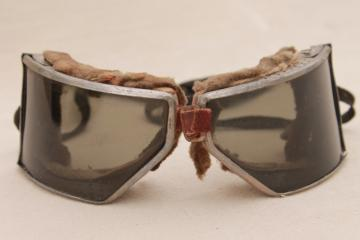 vintage Cesco motorcycle goggles 30s vintage smoke tint  lenses  for flying or racing