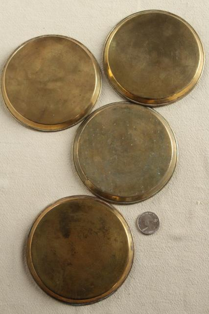 vintage Chinese brass coasters or dim sum plates w/ dragons, good fortune characters