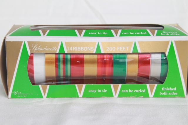 vintage Christmas package tying gift ribbon, satiny rayon ribbons in holiday colors