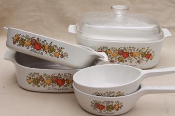 vintage Corning glass Spice of Life kitchen seasonings Corningware pans & casseroles