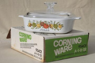 vintage Corning ware Spice O' Life 1 qt casserole or saucepan w/ glass lid, new in box