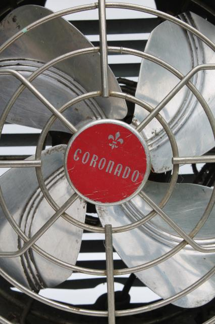 vintage Coronado electric fan, mid-century modern retro industrial steel fan