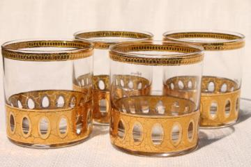 vintage Culver Antigua encrusted gold glasses, double old fashioned rocks tumblers