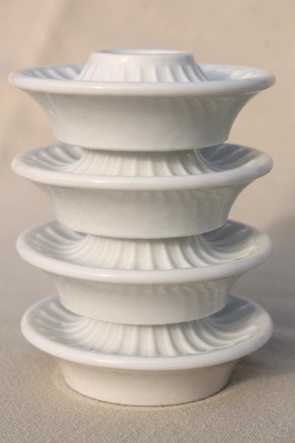 Vintage Danish Modern Minimalist Pure White Porcelain Candle Holders Made In Denmark