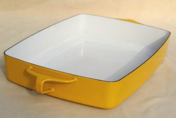 vintage Dansk Kobenstyle lasagna pan, yellow enamel large roaster or baking pan France