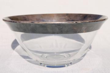 vintage Dorothy Thorpe wide silver band glass bowl- fruit bowl, punch bowl or salad bowl