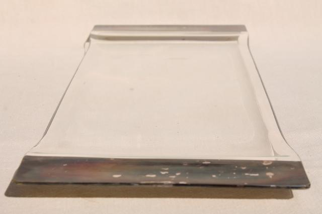 vintage Dorothy Thorpe wide silver band glass cocktail tray, mod bent formed glass
