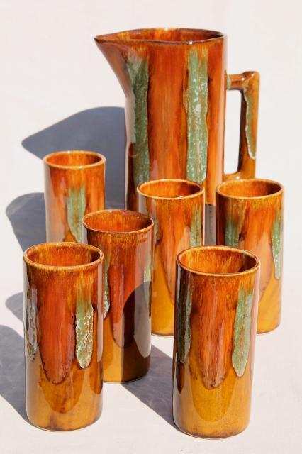 vintage Dryden drip glaze pottery, tall pitcher u0026 drinking glasses, mod cocktail set!