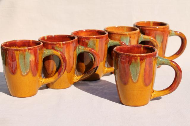 vintage Dryden pottery coffee cups, set of six mugs w/ green gold brown spatter drip glaze