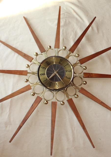 vintage Elgin sunburst clock, huge mid century  modern atomic wall clock