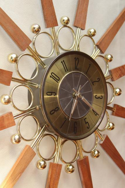 Vintage Elgin Sunburst Clock Huge Mid Century Modern