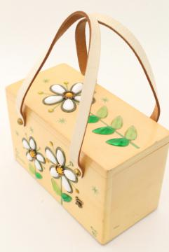 vintage Enid Collins box bag purse, jeweled daisy & bee painted wood handbag