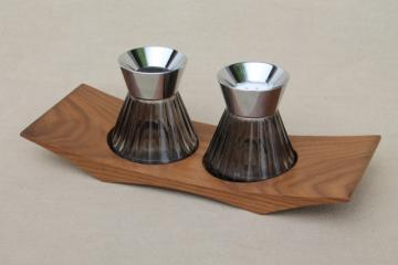 vintage Euro modern smoke glass S&P shakers & wood tray, mid-century mod