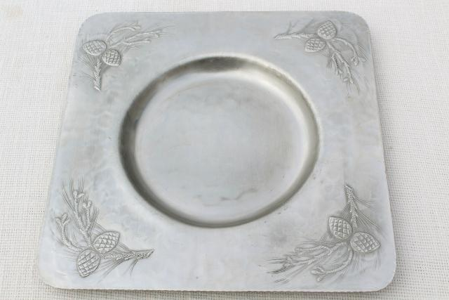 vintage Everlast hand forged hammered aluminum pine cones square platter for casserole bowl : aluminum tableware - pezcame.com