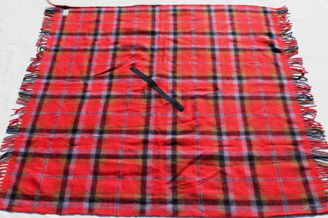 vintage Fairbo red plaid wool poncho blanket, winter wrap & throw in one
