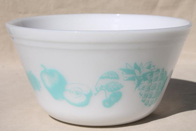 vintage Federal glass kitchen mixing bowl aqua Fruit Fare print pattern milk glass