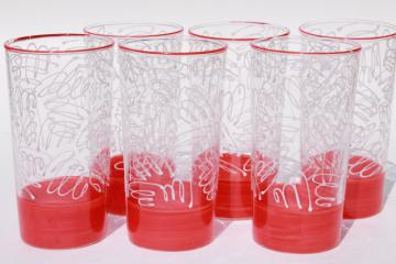 vintage Federal glass tumblers. drinking glasses set w/ red & white scribble mod design