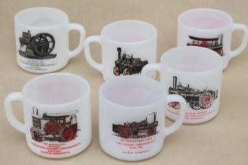 vintage Federal milk glass coffee mugs, antique steam engine tractors & engines