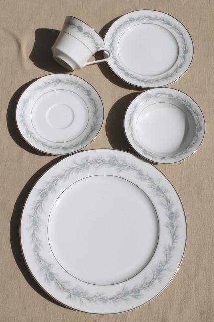 vintage Fine China Japan Style House Duchess blue pine dinnerware set service for 8 & vintage Fine China Japan Style House Duchess blue pine dinnerware ...