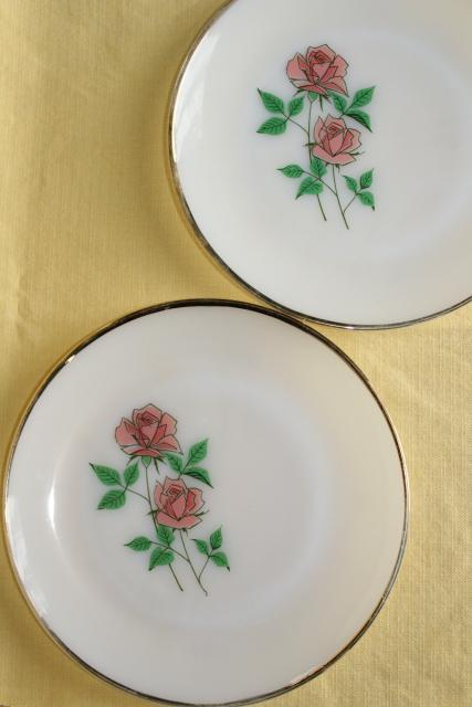 vintage Fire King Anniversary Rose pink roses milk glass plates & serving bowl