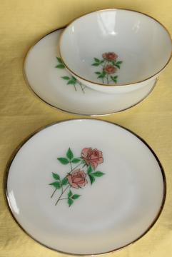 5896f0a13bcb vintage Fire King Anniversary Rose pink roses milk glass plates & serving  bowl