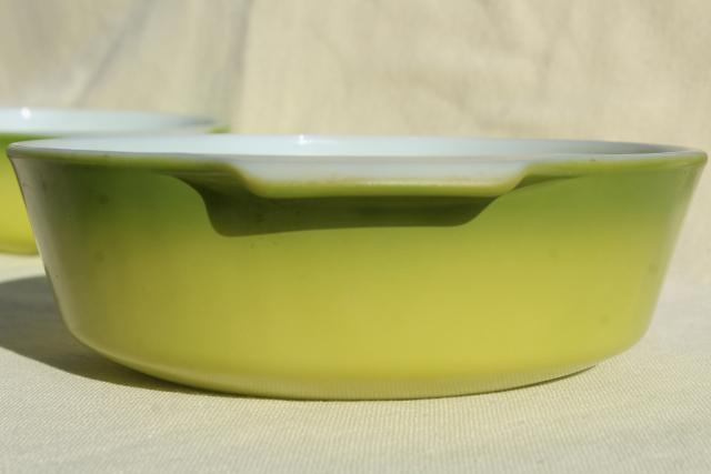 vintage Fire King glass casserole dishes, avocado lime green color fade ombre