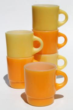 vintage Fire King glass coffee mugs, retro orange & yellow gold color milk glass