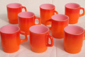 vintage Fire King glass coffee mugs, vivid flame orange ombre fade color milk glass