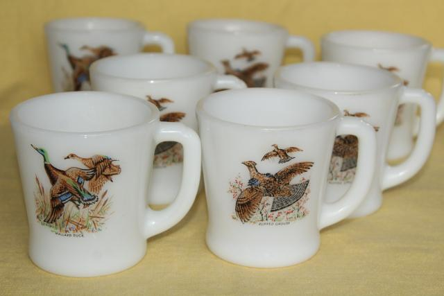 vintage Fire King milk glass coffee mugs, game birds - flying ducks and grouse