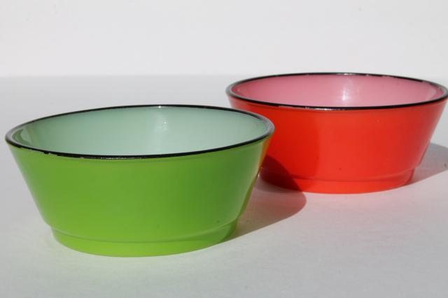 Vintage Fire King Glass Cereal Bowls Red Amp Green Fired On