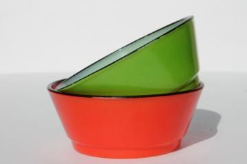 vintage Fire-King glass cereal bowls, red & green fired on color black trim