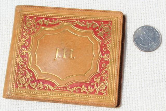 vintage Florentine gold gilt embossed Italian leather purse, wallets, bag accesories