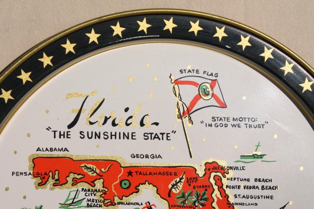 vintage Florida map state souvenirs, round metal trays w/ retro litho print design