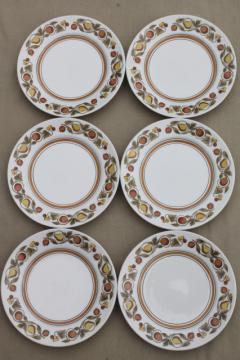 vintage Franciscan Pickwick rustic fruit whitestone stoneware china plates set of six
