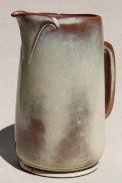 vintage Frankoma pottery Plainsman pitcher, brown satin or desert gold