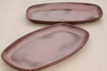 vintage Frankoma pottery, large platters, Plainsman brown squared oval plates