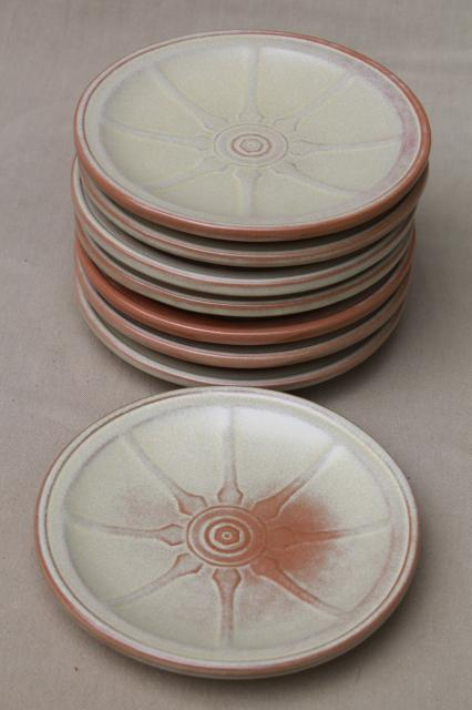 vintage Frankoma pottery wagon wheel plates western chuck wagon cowboy style dishes & vintage china dishes and dinnerware
