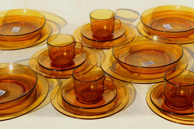 vintage French kitchen glassware amber glass dishes set, unused Vereco Duralex