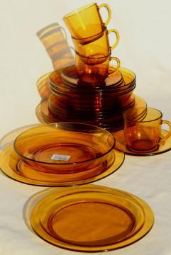 vintage French kitchen glassware amber glass dishes set, unused Vereco Duralex