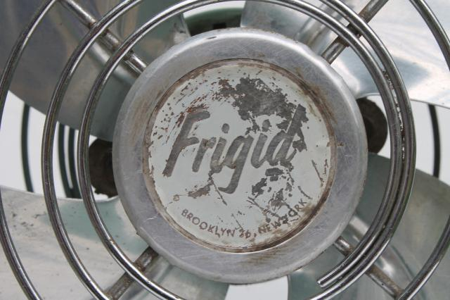 vintage Fridgid electric fan, mid-century modern retro industrial steel fan