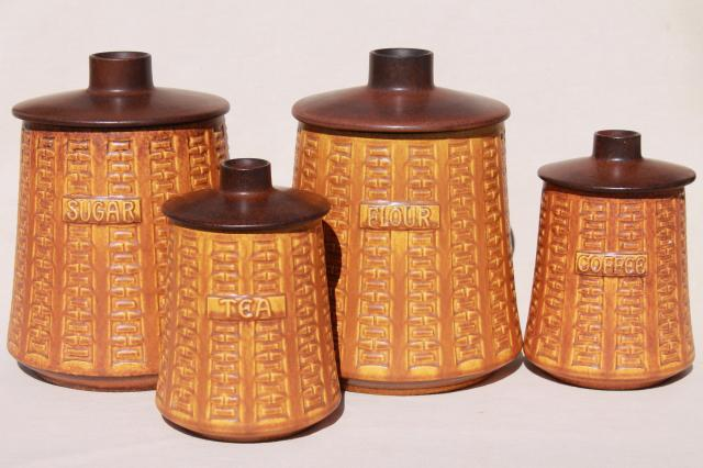 Vintage German Ceramano Kitchen Canisters, Mod Pottery Canister Set W  Germany
